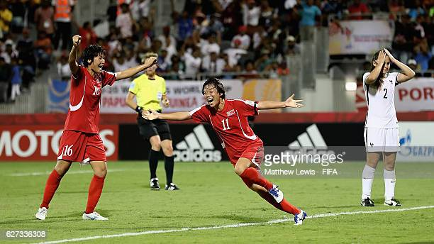 Kim Phyong Hwa of Korea DPR celebrates her goal during the FIFA U20 Women's World Cup Papua New Guinea 2016 Final between Korea DPR and France at the...