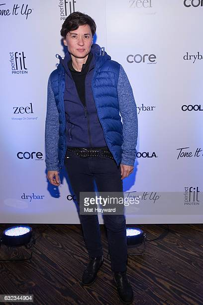 Kim Pierce poses for a photo in the Tone It Up Wellness Lounge during the Sundance Film Festiva on January 21, 2017 in Park City, Utah.