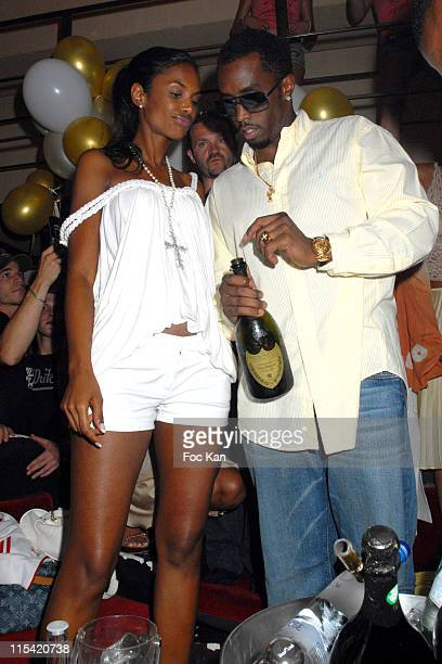 Kim Porter and Sean Diddy Combs during Sean Diddy Combs Unforgivable Party at The Papagayo Club at The Papagayo Club in Saint Tropez France