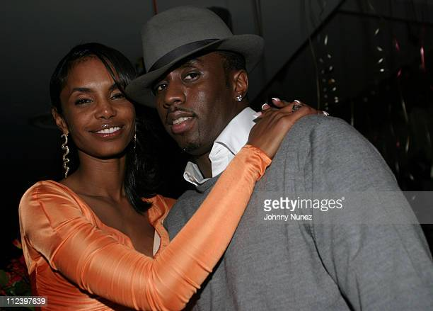 Kim Porter and Sean P Diddy Combs during Kim Porter's Birthday Party Hosted By Sean P Diddy Combs at Canal Room in New York City New York United...