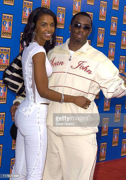 Kim Porter and Sean P Diddy Combs during NBA AllStar Game 2004 Celebrity Arrivals at Staples Center in Los Angeles CA United States