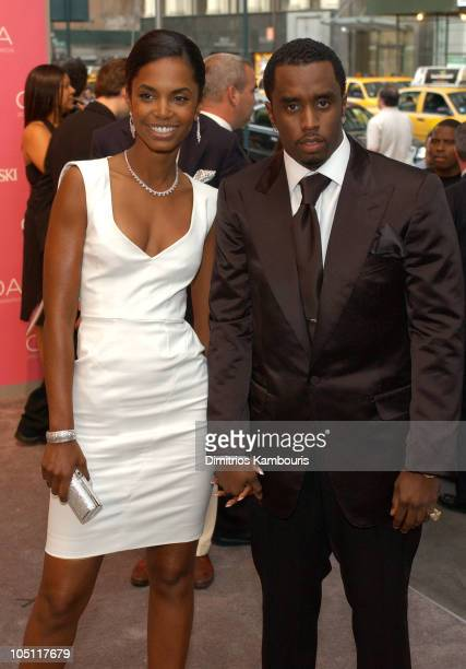 Kim Porter and Sean P Diddy Combs during The 2003 CFDA Fashion Awards Arrivals at The New York Public Library in New York City New York United States