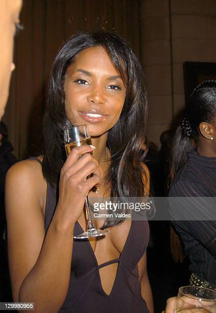 Kim Porter during MercedesBenz Fashion Week Fall 2003 Collections Sean John Front Row and Backstage at Cipriani's in New York City New York United...