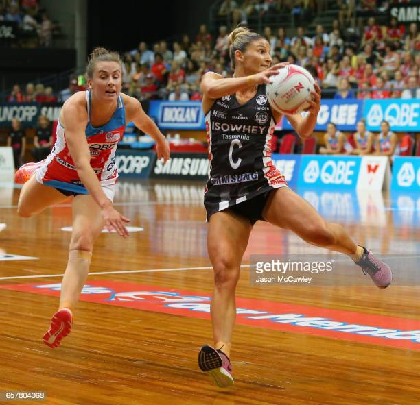 Kim Ravaillion of the Magpies catches the ball during the round six Super Netball match between the Swifts and the Magpies at Sydney Olympic Park...