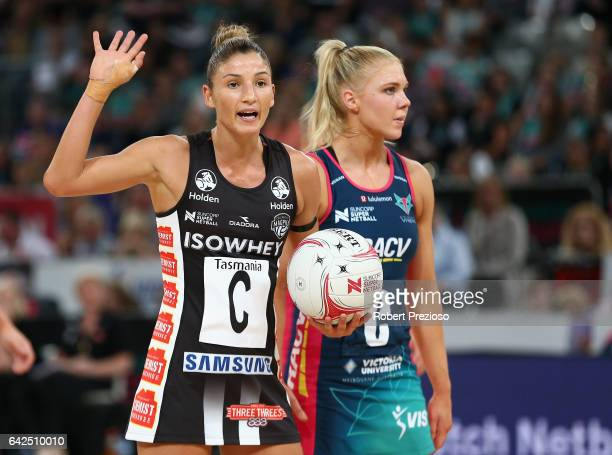 Kim Ravaillion of the Magpies gestures during round one of the Super Netball match between the Vixens and Magpies at Hisense Arena on February 18...