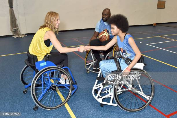 Kim Raver Chidi Ajufo and Briana Roy attend 2019 Angel City Games Celebrity Wheelchair Basketball Game Presented By The Hartford on June 22 2019 in...