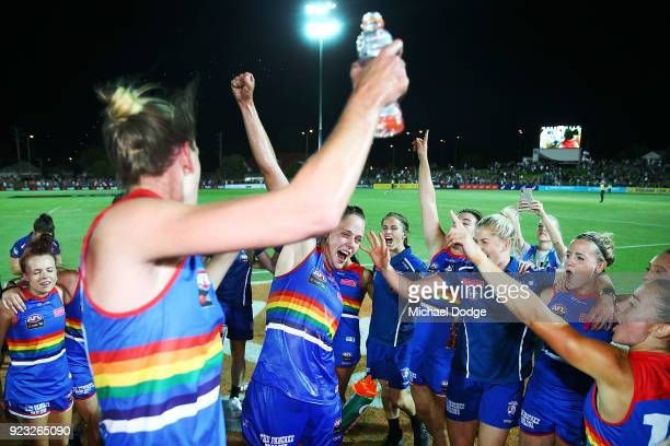 Kim Rennie of the Bulldogs celebrates the win with teammates during the round four AFLW match between the Western Bulldogs and the Carlton Blues at...