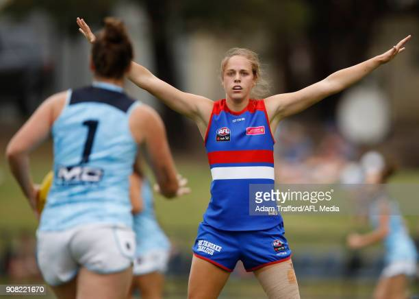 Kim Rennie of the Bulldogs stands on the mark during the 2018 AFLW Practice match between the Western Bulldogs and the Carlton Blues at Mars Stadium...