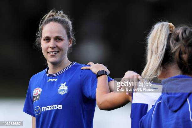 Kim Rennie of the Kangaroos looks on during the North Melbourne training session at Arden Street Oval on October 12, 2021 in Melbourne, Australia.