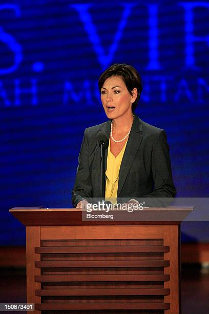 Kim Reynolds lieutenant governor of Iowa speaks at the Republican National Convention in Tampa Florida US on Tuesday Aug 28 2012 Delegates are...