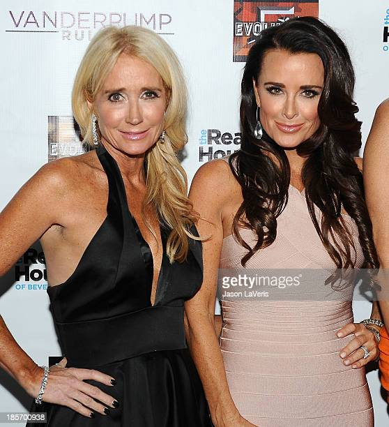 Kim Richards and Kyle Richards attend the The Real Housewives of Beverly Hills and Vanderpump Rules premiere party at Boulevard3 on October 23 2013...