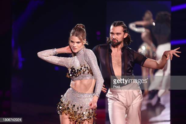 """Kim Riekenberg and Pasha Zvychaynyy perform on stage during the 2nd show of the 14th season of the television competition """"Let's Dance"""" on March 12,..."""