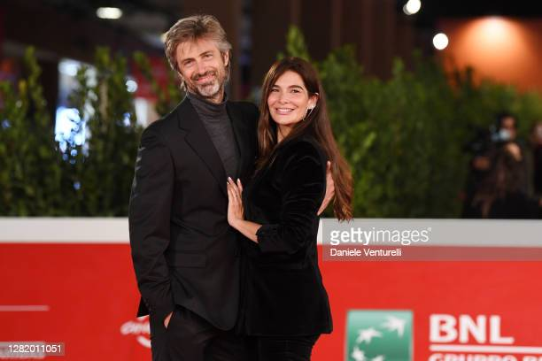 """Kim Rossi Stuart and Ilaria Spada attend the red carpet of the movie """"Cosa Sarà"""" during the 15th Rome Film Festival on October 24, 2020 in Rome,..."""