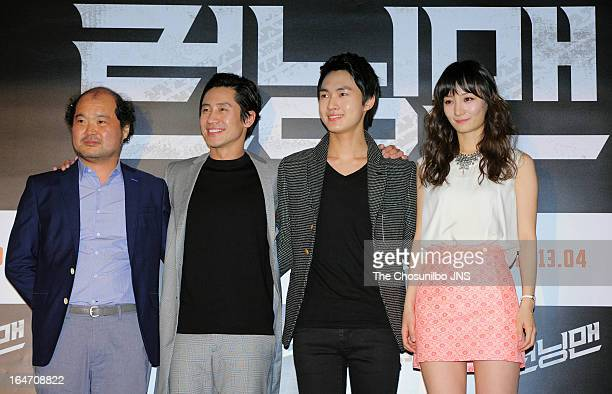 Kim SangHo Shin HaKyun Lee MinHo and Joe EunJi attend the 'Running Man' press conference at Wangsimni CGV on March 26 2013 in Seoul South Korea