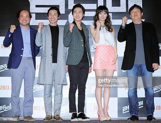Kim SangHo Shin HaKyun Lee MinHo Joe EunJi and director Jo DongHo attend the 'Running Man' press conference at Wangsimni CGV on March 26 2013 in...