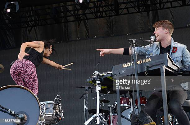 Kim Schifino and Matt Johnson of Matt and Kim perform during the 2013 Voodoo Music + Arts Experience at City Park on November 3, 2013 in New Orleans,...