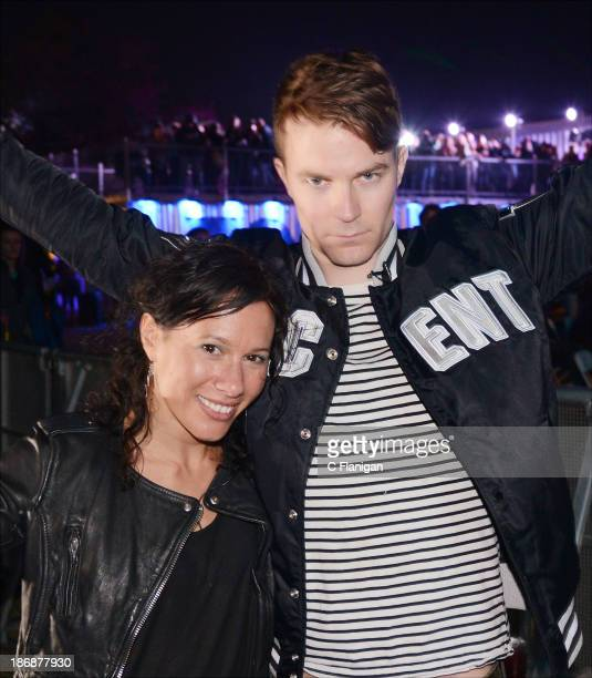 Kim Schifino and Matt Johnson of Matt and Kim pose during the 2013 Voodoo Music + Arts Experience at City Park on November 3, 2013 in New Orleans,...