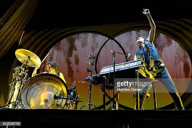 Kim Schifino and Matt Johnson of the band Matt Kim perform live on stage for the 'Delirium World Tour' at Madison Square Garden on June 21 2016 in...