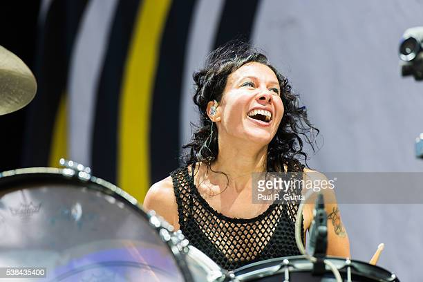Kim Schifino of Matt and Kim performs on stage at Verizon Wireless Amphitheater on June 6 2016 in Alpharetta Georgia