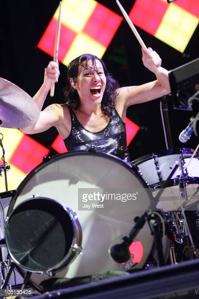 Kim Schifino of Matt & Kim performs at Austin City Limits Music Festival day two at Zilker Park on October 9, 2010 in Austin, Texas.