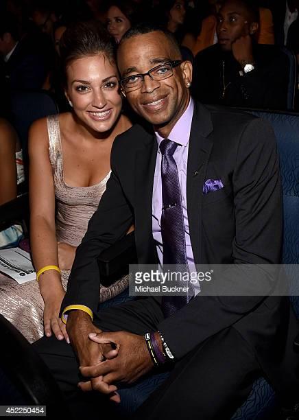 Kim Scott and ESPN journalist Stuart Scott attend The 2014 ESPYS at Nokia Theatre LA Live on July 16 2014 in Los Angeles California