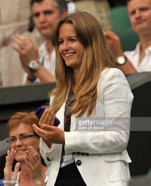 Kim Sears, and Judy Murray, girlfriend and mother of Britain's Andy Murray, watch him play against Switzerland's Stanislas Wawrinka on the seventh...