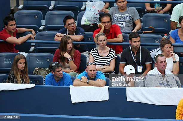 Kim Sears Andy Ireland Jez Green Daniel Vallverdu and Ivan Lendl watch Andy Murray of Great Britain during his men's singles quarterfinal match...