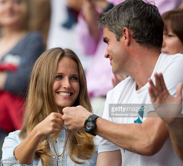 Kim Sears Andy Murray's girlfriend celebrates his win with physiotherapist Andy Ireland after Murray's men's singles quarterfinal victory over...