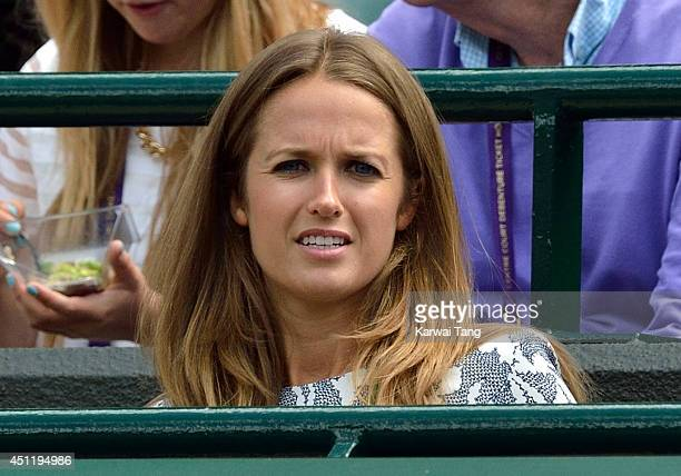 Kim Sears attends the Andy Murray v Blaz Rola match on court one during day three of the Wimbledon Championships at Wimbledon on June 25, 2014 in...