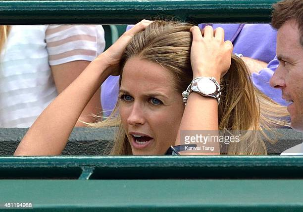 Kim Sears attends the Andy Murray v Blaz Rola match on court one during day three of the Wimbledon Championships at Wimbledon on June 25 2014 in...
