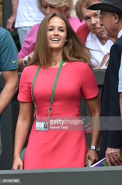 Kim Sears attends the Andy Murray v Grigor Dimitrov match on centre court during day nine of the Wimbledon Championships at Wimbledon on July 2 2014...