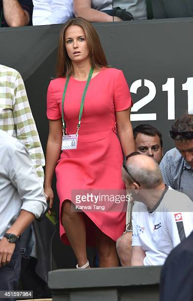 Kim Sears attends the Andy Murray v Grigor Dimitrov match on centre court during day nine of the Wimbledon Championships at Wimbledon on July 2, 2014...