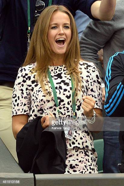 Kim Sears attends the Andy Murray v Kevin Anderson match on centre court during day seven of the Wimbledon Championships at Wimbledon on June 30,...