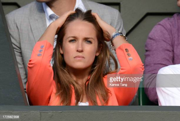 Kim Sears attends the Andy Murray vs Fernando Verdasco match on Day 9 of the Wimbledon Lawn Tennis Championships at the All England Lawn Tennis and...