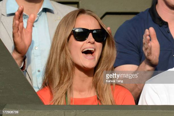 Kim Sears attends the Jerzy Janowicz vs Andy Murray match on Day 11 of the Wimbledon Lawn Tennis Championships at the All England Lawn Tennis and...