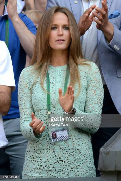 Kim Sears attends the Men's Singles Final between Novak Djokovic and Andy Murray on Day 13 of the Wimbledon Lawn Tennis Championships at the All...