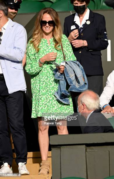 Kim Sears attends the Wimbledon Tennis Championships at the All England Lawn Tennis and Croquet Club on July 02, 2021 in London, England.
