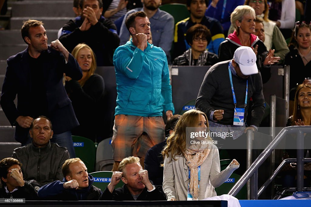 Kim Sears fiancee of Andy Murray of Great Britain celebrates a point as she watches his fourth round match against Grigor Dimitrov of Bulgaria during day seven of the 2015 Australian Open at Melbourne Park on January 25, 2015 in Melbourne, Australia.