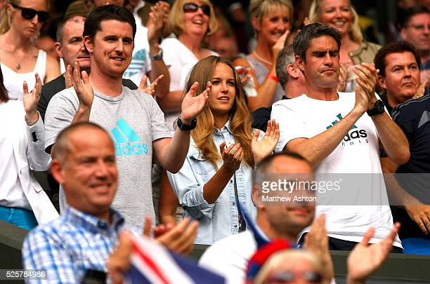Kim Sears, girlfriend of Andy Murray of Great Britain, celebrates on match point at Wimbledon, 2012