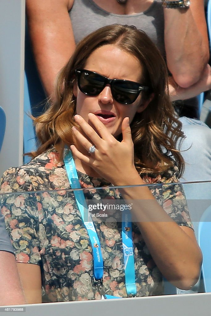 Kim Sears, girlfriend of Andy Murray of Great Britain watches him in his first round match against Yuki Bhambri of India during day one of the 2015 Australian Open at Melbourne Park on January 19, 2015 in Melbourne, Australia.