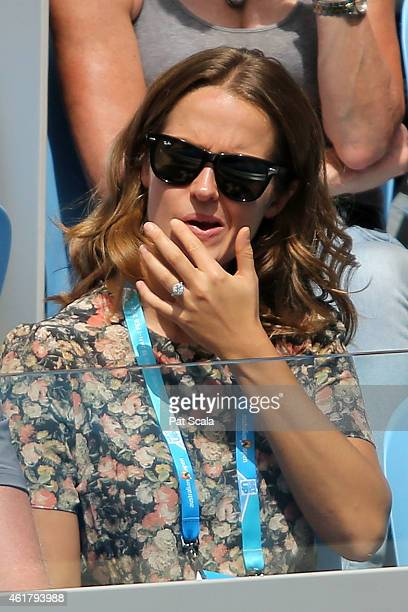 Kim Sears, girlfriend of Andy Murray of Great Britain watches him in his first round match against Yuki Bhambri of India during day one of the 2015...