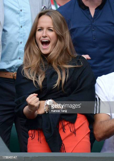 Kim Sears reacts during the Andy Murray vs Jerzy Janowicz match on Day 11 of the Wimbledon Lawn Tennis Championships at the All England Lawn Tennis...