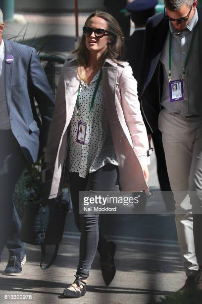 Kim Sears seen leaving after Andy Murray's defeat at Day 9 of Wimbledon 2017 on July 12 2017 in London England