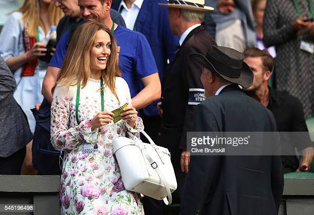 Kim Sears The Wife of Andy Murray of Great Britain takes her seat in Centre Court on day nine of the Wimbledon Lawn Tennis Championships at the All...