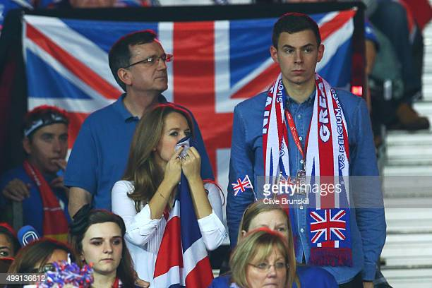Kim Sears the wife of Great Britain's Andy Murray and Murray's cousin Josh Murray cheer on Andy Murray of Great Britain during the singles match...