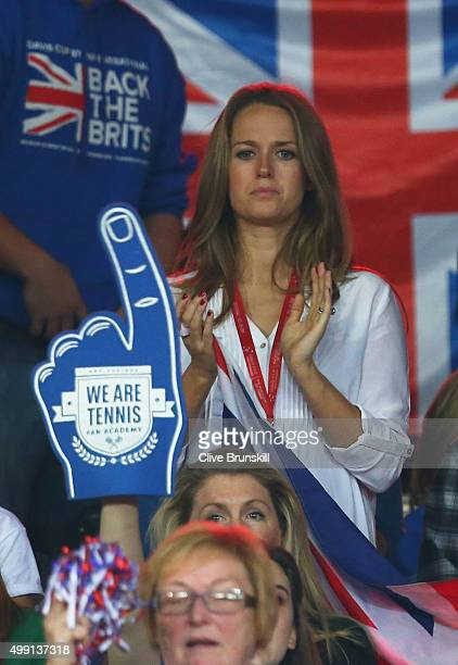 Kim Sears the wife of Great Britain's Andy Murray cheers him on during the singles match against David Goffin of Belgium on day three of the Davis...