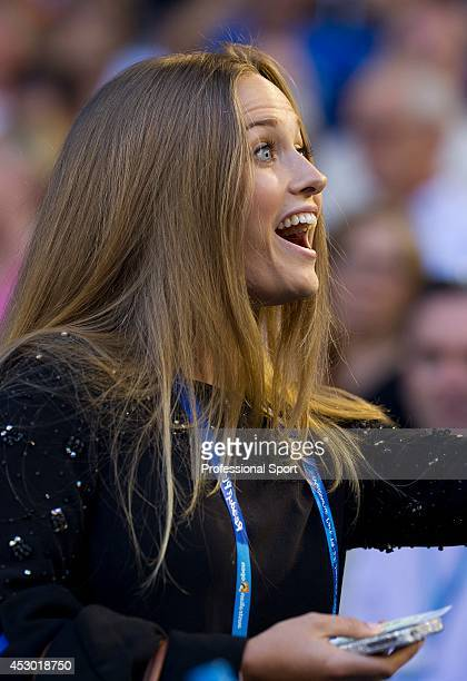 Kim Sears watching her boyfriend Andy Murray of Great Britain in action during the men's final match against Novak Djokovic of Serbia during day...