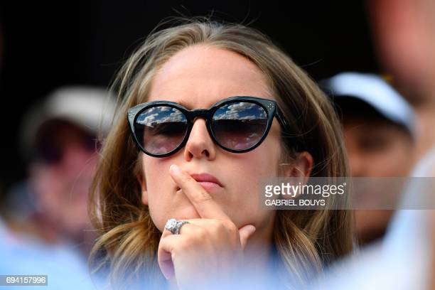 Kim Sears wife of Britain's Andy Murray attends his semifinal tennis match against Switzerland's Stanislas Wawrinka at the Roland Garros 2017 French...