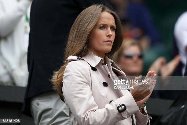 Kim Sears wife of Britain's Andy Murray takes her seat in the Family Box on Centre Court to watch Britain's Andy Murray play against US player Sam...
