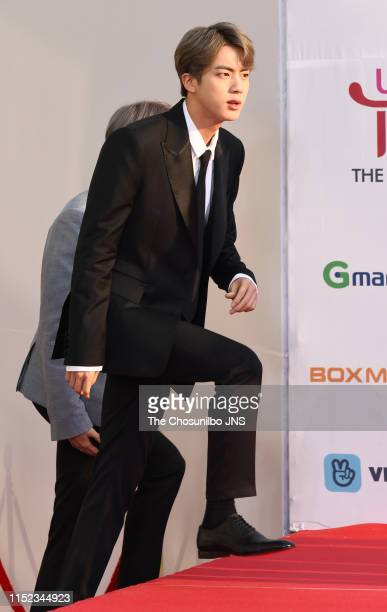 Kim Seokjin member of BTS attends 'The Fact Music Awards' held at Namdong Gymnasium in southeastern Incheon on April 24 2019 in Incheon South Korea